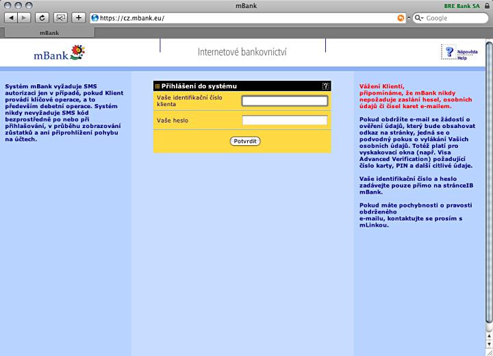 Přihlašovací obrazovka mBank